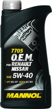 MANNOL 7705 O.E.M. 5W-40 for Renault Nissan 1L