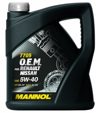 MANNOL 7705 O.E.M. 5W-40 for Renault Nissan 4L