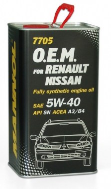 MANNOL 7705 O.E.M. 5W-40 for Renault Nissan 4L metal